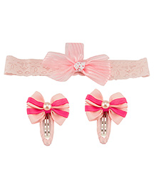 Babies Bloom Headband And Hair Clip Set - Light Pink