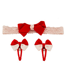 Babies Bloom Headband And Hair Clip Set - Red