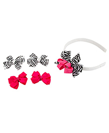 Babies Bloom Ribbon Hair Bow And Hairband Set Stripes Printed Set Of 5 - Pink And Black