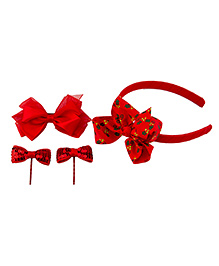 Babies Bloom Sequin Hair Band And Hair Pin Accessory Set Red - Pack Of 4