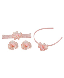 Babies Bloom Hair Accessory Set Pack Of 4 - Light Pink