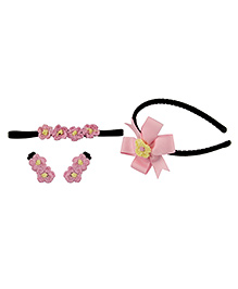 Babies Bloom Hair Accessory Set Pack Of 4 - Pink Black