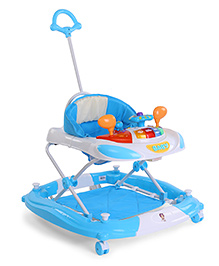 Musical Baby Walker With Parent Push Handle - Blue