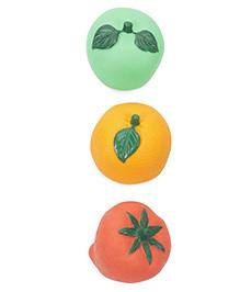 Ratnas Fruit Shape Bath Toys Pack Of 3 - Green Orange Yellow