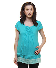 Preggear Short Sleeves Maternity Top Lace Border - Turquoise Blue