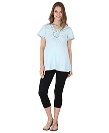 Preggear Half Sleeves Maternity Top With Embellishments - Light Blue
