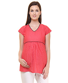 Preggear Short Sleeves Maternity Top Floral Print - Red