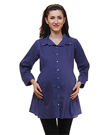 Preggear Three Fourth Sleeves Maternity Tunic Solid Color - Dark Blue