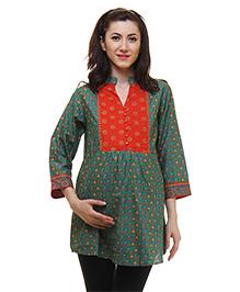 Preggear Three Fourth Sleeves Nursing Tunic Floral Print - Green