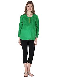 Preggear Three Fourth Sleeves Maternity Top Solid Color - Green