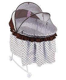 Baby Cradle Cum Rocker With Mosquito Net Dots Print - Brown