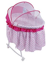 Baby Cradle Cum Rocker With Mosquito Net Dots Print - Pink