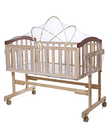 Mee Mee Wooden Baby Cradle With Mosquito Net - Light Brown