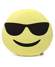 Benny & Bunny Face With Sunglasses Emoji Embroidered Cushion - Yellow & Black