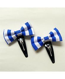 Pink Velvetz Striped Bow Hair Clip - Blue & White