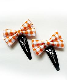 Pink Velvetz Check Bow Hair Clip - Orange & White