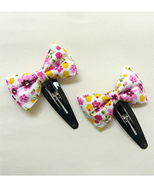 Pink Velvetz Floral Printed Bow Hair Clip - Pink