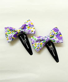 Pink Velvetz Floral Printed Bow Hair Clip - Purple