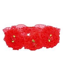 Miss Diva 3 Flower Soft Headband - Red
