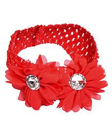 Miss Diva Shinning Diamond Double Flower Soft Headband - Red