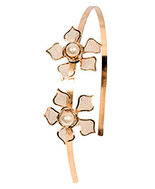 Miss Diva Elegant Shinning Double Golden Flower Hair Band - Golden