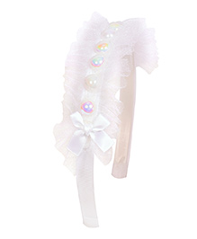 Miss Diva Pearls With Net Hair Band - White