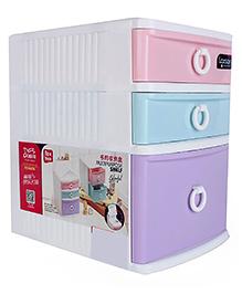 Three Compartment Storage Box - White Multi Colour