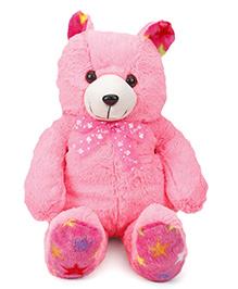 Liviya Teddy Bear With Cute Printed Bow Soft Toy Pink - 54 Cm