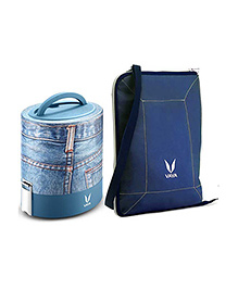 Vaya Insulated Lunch Box With Bag Denim Design Blue - 1000 Ml