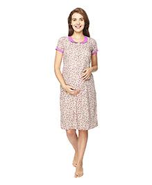 Morph Short Sleeves Maternity Nursing Nighty Floral Print - Cream Purple