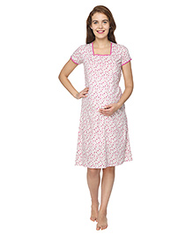 Morph Short Sleeves Maternity Nursing Floral Print - White Pink