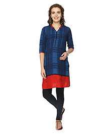 Morph Three Fourth Sleeves Maternity Nursing Kurta - Blue & Red