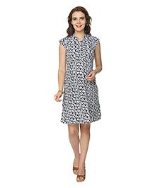 Morph Cap Sleeves Printed Maternity Nursing Dress - Black & White