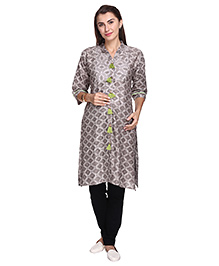 MomToBe Three Fourth Sleeves Maternity Kurti Diamond Print - Grey