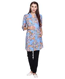 MomToBe Three Fourth Sleeves Maternity Kurti Floral Print - Light Blue