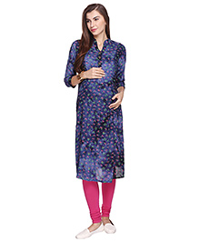 Momtobe Long Sleeves Maternity Kurti Floral Print - Navy Blue