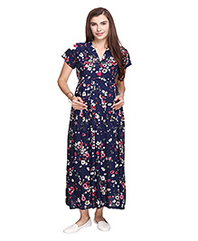 MomToBe Short Sleeves Maternity Dress Floral Print - Navy Blue