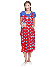 MomToBe Short Sleeves Maternity Nursing Dress Floral Print - Red