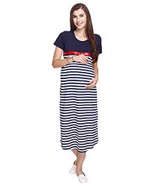 MomToBe Short Sleeves Maternity Nursing Dress Floral Print - Blue