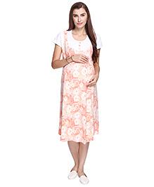 MomToBe Short Sleeves Maternity Nursing Dress Floral Print  - Peach & White