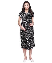 MomToBe Short Sleeves Maternity Nursing Dress Dice Print - Black