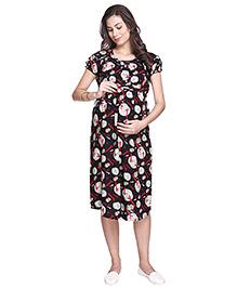 MomToBe Short Sleeves Rayon Maternity Dress Wheels Print - Black & Cream