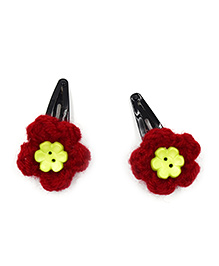 Magic Needles Crochet Flowers & Button Tic Tac Hair Clips - Maroon
