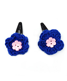 Magic Needles Crochet Flowers & Button Tic Tac Hair Clips - Dark Blue