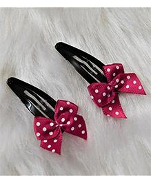 Magic Needles Small Polka Bows Tic Tac Hair Clips - Dark Pink