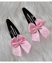 Magic Needles Ribbon Bows Tic Tac Hair Clips - Light Pink