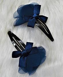 Magic Needles Bow Dress Tic Tac Hair Clips - Navy Blue