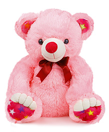 Liviya Teddy Bear With Printed Star Paw Soft Toy Pink - Height 53 Cm
