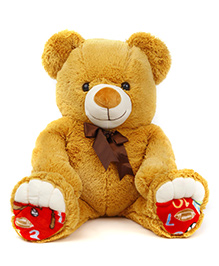 Liviya Sitting Teddy Bear With Bow Soft Toy Golden Brown - Height 77 Cm