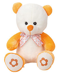 Dimpy Stuff Teddy Bear With Flower Print Paw Soft Toy White - Height 29 Cm